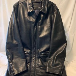 KENNETH COLE NY Black Leather Car Coat Size L